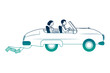 just married couple in car isolated icon vector illustration design