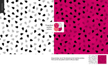 Food Patterns, Summer - Fruit, Flat Vector Illustration, Dragonfruit Texture, Small Half Of Dragon Fruit Image In Center - Two Seamless Patterns Of White And Red Pitahaya Dragonfruit Sweet Pulp