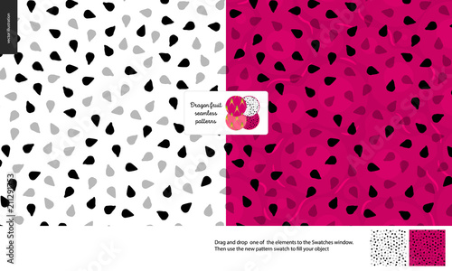 Food patterns, summer - fruit, flat vector illustration, dragonfruit texture, small half of dragon fruit image in center - two seamless patterns of white and red pitahaya dragonfruit sweet pulp - 211291753