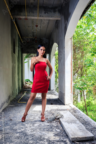 9e147544e5f1 Asian girl in red dress posing in abandoned building - Buy this ...