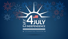Happy 4th Of July Independence Day USA Blue Background With The United States Flag And 4th Of July Typography - Vector