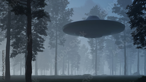 3d illustration contact with UFO in the forest Fototapet