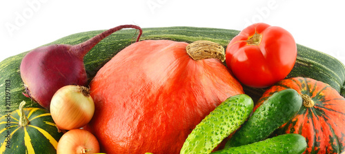 Poster Verse groenten Vegetables isolated on white background. Wide photo.