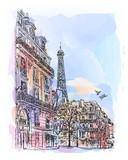 Fototapeta Fototapety Paryż - Paris watercolor sketch