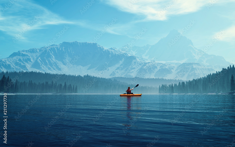 Fototapety, obrazy: Man with canoe on the lake