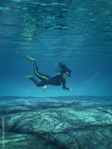 Fotobehang Koraalriffen Diver swimming underwater