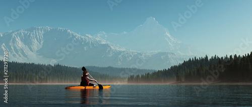 Leinwand Poster Man with canoe on the lake.