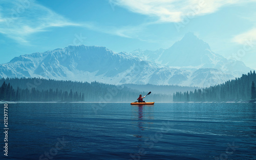 Leinwand Poster Man with canoe on the lake