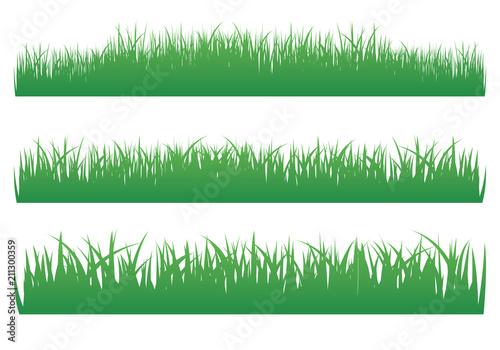 Fototapeta Vector illustration of green grass set on white background obraz na płótnie