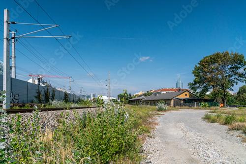 Foto op Aluminium Spoorlijn Stadtentwicklungsgebiet Nordbahnhof