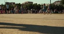 Crowd Of People Walking On Sunny Street. 4K UHD Timelapse.