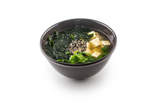 Traditional Japanese Soup Miso With Tofu Seaweed And Young Onion