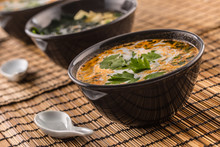 Traditional Thai Soup Tom Yum With Shrimp And Coconut Milk