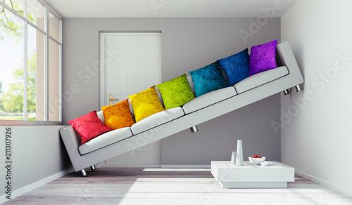 Fotografie, Obraz  Sofa mit bunten Kissen in engem Raum