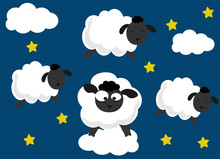 Insomnia Concept Vector. Counting Sheeps Cute Illustration.