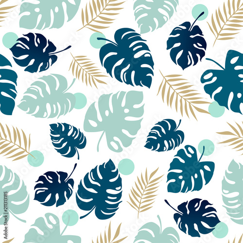 Poster Kunstmatig Seamless monstera pattern vector illustration.