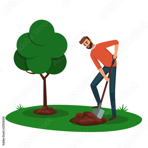 Man Digging A Hole For A Tree Cartoon Boy Volunteer With A Shovel Digging The Ground For Planting Trees Eco Friendly Ecology Concept With Tree And Man Buy This Stock Vector Download 85,810 cartoon tree free vectors. man digging a hole for a tree cartoon