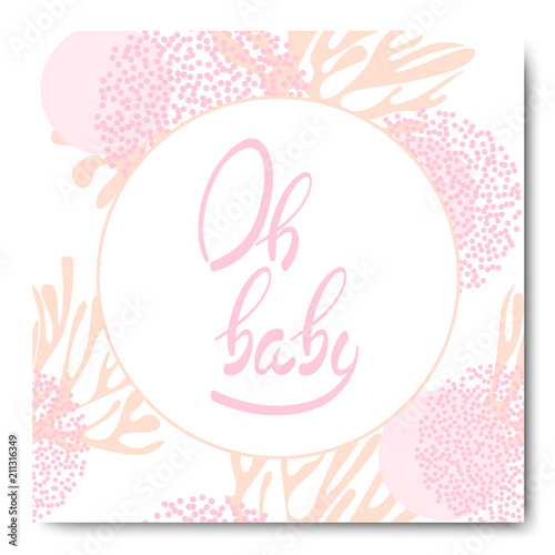 Oh Baby Lettering Phrase On Pink Background Baby Shower