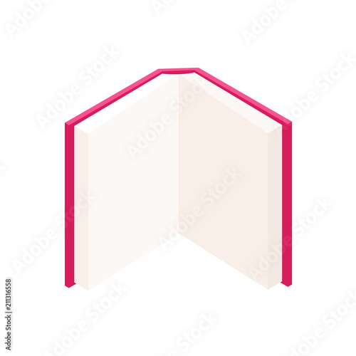 vector colorful open book standing up in isometric education