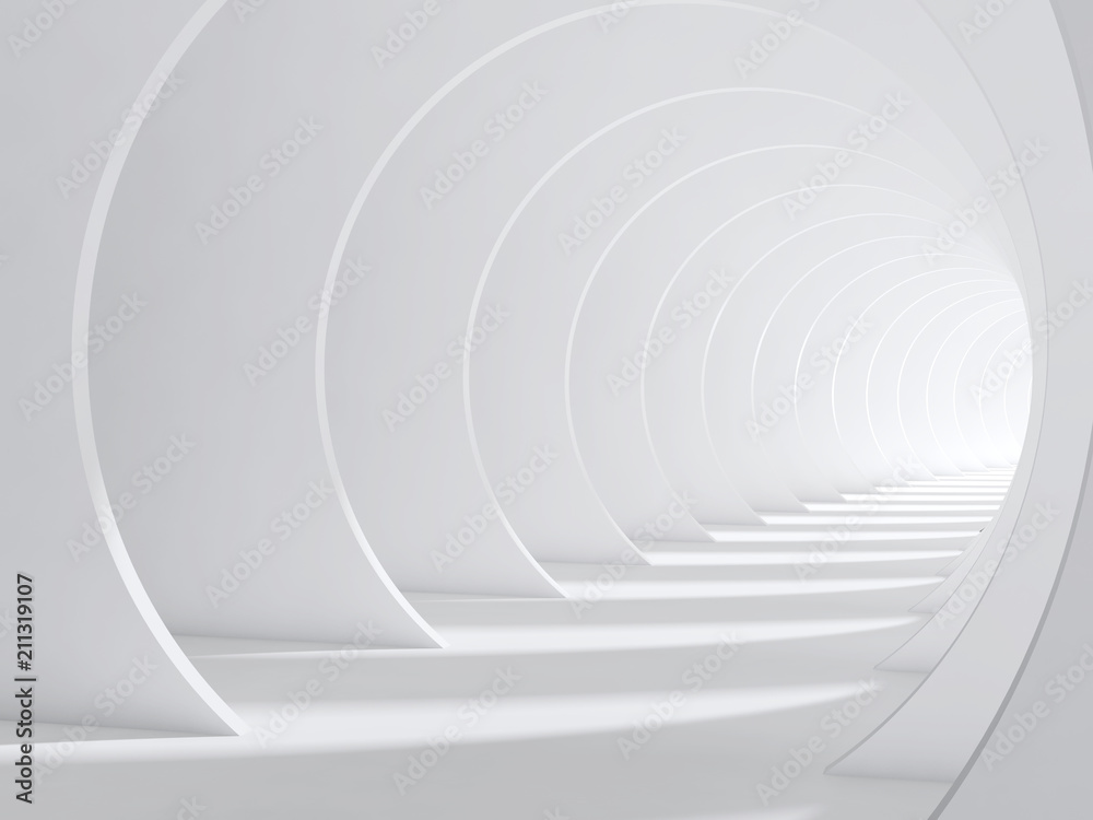 Fototapety, obrazy: Abstract white bent 3d tunnel