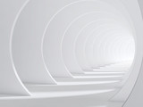 Fototapeta  - Abstract white bent 3d tunnel