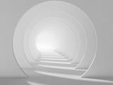 Fototapeta Perspektywa 3d - Empty white tunnel, abstract interior 3d