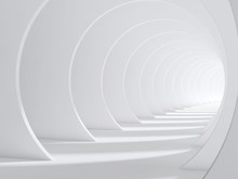 Abstract White Bent 3d Tunnel