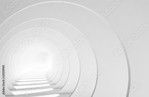 Tunnel with glowing end, 3d illustration
