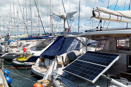 Deurstickers Poort Solar panel on a moored yacht in the port of Ibiza. Spain