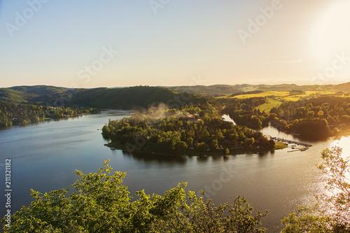 Panorama of lake Slapy near Prague on river Vltava with peninsula Zdan.