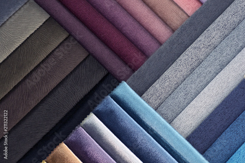 Foto op Aluminium Stof Catalog of multicolored cloth from matting fabric texture background, silk fabric texture, textile industry background