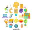 Creative marketing icons set. Cartoon set of 25 creative marketing vector icons for web isolated on white background