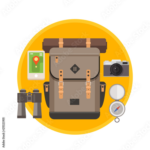Collection travel equipment. Preparing for the trip. Vector illustration flat style.