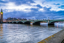 Westminster Bridge Near Big Ben In Loindon. England