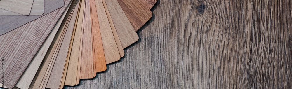 Fototapeta Wooden samples for floor laminate or furniture in home or commercial building.Small color sample boards. Copy space, design - obraz na płótnie