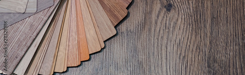 Fototapeta Wooden samples for floor laminate or furniture in home or commercial building.Small color sample boards. Copy space, design obraz na płótnie