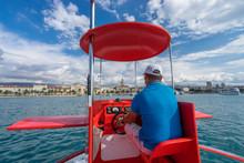 Red Semi Submarine Boat Approaching Harbor In Split, Croatia