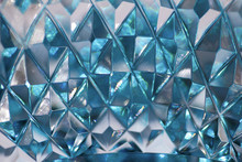 Macro Abstract Of Diamond Cut Facets On Beautiful Lead Crystal Glass Reflecting Natural Light