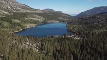 Aerial Approach Of Rock Creek Lake In The Eastern Sierra Nevada Mountain Range Near Mammoth Lakes California