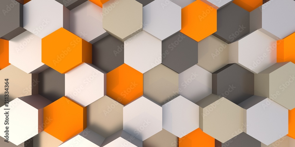 Fototapeta Abstract hexagonal background 3d illustration