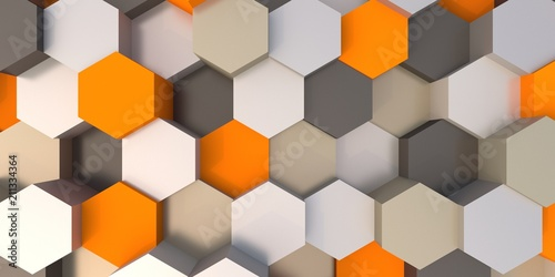 Abstract hexagonal background 3d illustration - 211334364