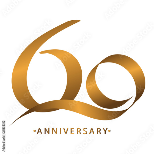Handwriting celebrating, anniversary of number 60 60th year anniversary, Luxury Poster Mural XXL