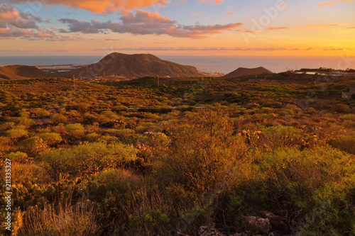 Poster de jardin Desert de sable Landscape with mountains and sea in sunset time