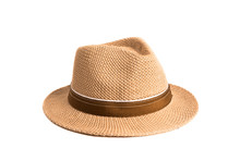 Brown Straw Hat Isolated On Wh...