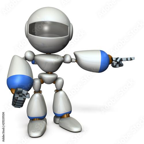 Fotografía  右に指差すキュートなロボット