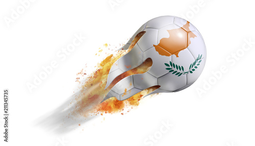 Tuinposter Cyprus Flying Flaming Soccer Ball with Cyprus Flag
