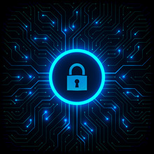 Abstract Technology Background. Cyber Security Concept. Closed Padlock On Digital Circuit Board Vector Illustration.