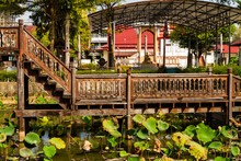 Thai Wooden Temple Architecture Wat Thung Si Muang ,Ubon Ratchatani  Province.Thailand