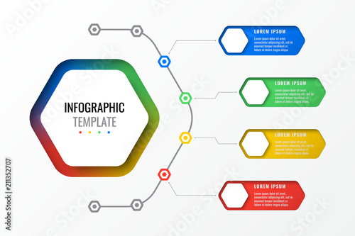 Photo  four options design layout infographic template with hexagonal elements