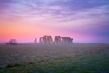 Stonehenge At Foggy Winter Sun...